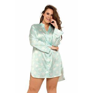 Saténová noční košile Alicia mint s hvězdami  XXL