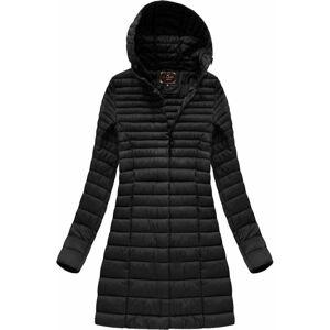Delší černá prošívaná bunda s kapucí (7240BIG) Černá 46
