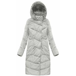 Světle šedý dámský kabát s přírodní vycpávkou (17112) Šedá L (40)