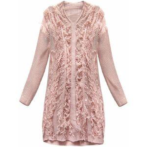 Teplý svetr v pudrově růžové barvě s třásněmi (155ART) růžová ONE SIZE