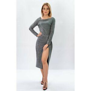 Lesklé stříbrné dámské šaty v délce midi (166ART) stříbrná ONE SIZE