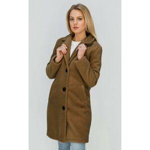 Jednoduchý hnědý kabát s knoflíky (23086) hnědý XL (42)