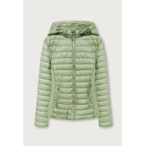 Prošívaná bunda v olivové barvě s kapucí (B1077-30) Zelený 46