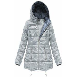 Šedá prošívaná bunda s kapucí (B1075-30) Šedá XXL (44)