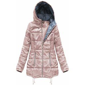 Prošívaná bunda ve starorůžové barvě s kapucí (B1075-30) růžový XXL (44)
