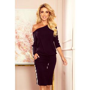 Černé sportovní dámské šaty s kapsičkami a lampasy 13-124 S