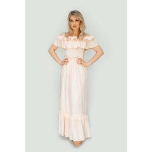 Béžové dámské šaty ve španělském stylu (344ART) béžová M (38)
