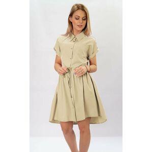 Béžové dámské košilové šaty (339ART) béžová S (36)