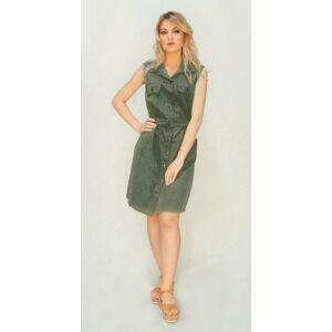 Šedo-zelené košilové šaty (397ART) zelená ONE SIZE