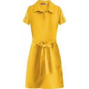 Žluté dámské šaty s límečkem (437ART) žlutá 46