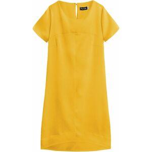 Žluté dámské trapézové šaty (446ART) Žlutá 50