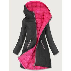 Oboustranná bunda v grafitovo-amarantové barvě pro přechodné období (7700) Růžová L (40)