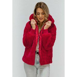 Červená plyšová bunda s kapucí (2019) Červené S (36)