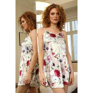 Saténová košilka Karen flowers 5 vícebarevná M