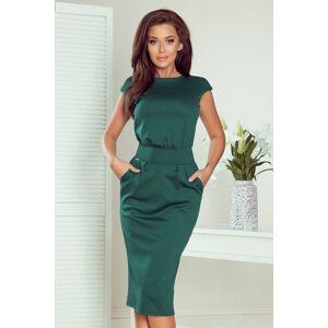 SARA - Dámské midi šaty v lahvově zelené barvě se zvýšeným pasem 144-8 M