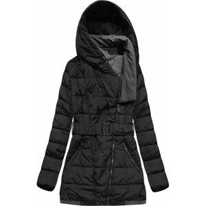 Černá dámská bunda s kapucí a páskem (YB929) černá 46