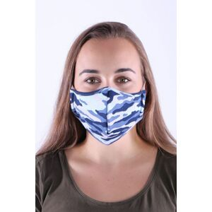 Bavlněná rouška s kapsou na filtr maskáč modrá