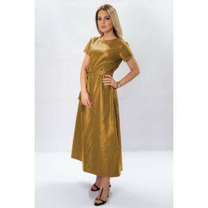 Dlouhé žluté šaty z eko kůže (504ART) žlutá L (40)