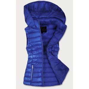 Prošívaná lesklá dámská vesta v chrpové barvě (7000) modrý XXL (44)
