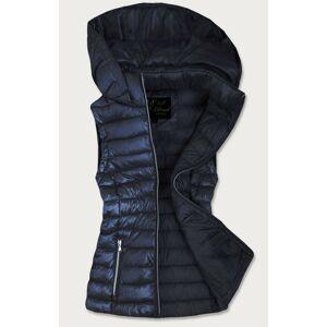 Tmavě modrá prošívaná lesklá dámská vesta (7000) námořnická modrá XL (42)