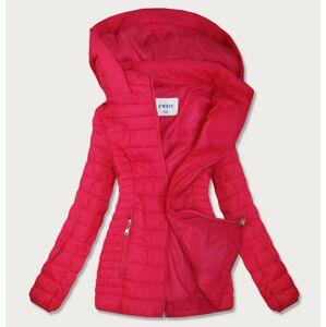 Růžová prošívaná dámská bunda s kapucí (B0103) růžový 52