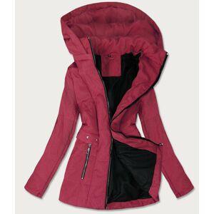 Prošívaná dámská bunda v bordó barvě s kapucí (B9535) kaštanové 54