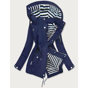 Tmavě modrá dámská bunda s pruhovanou podšívkou (W661BIG) námořnická modrá 50