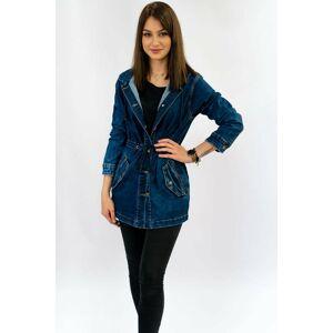 Dlouhá dámská džínová bunda s kapucí (5681-K) tmavěmodrá S (36)