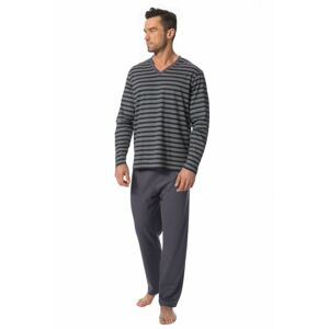 Pánské pyžamo Kevin tmavě modré s pruhy  M