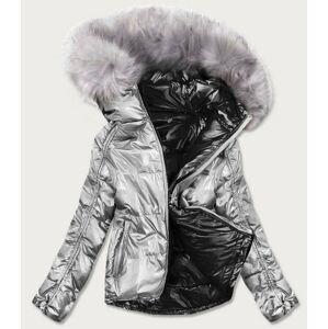 Černo-stříbrná dámská oboustranná bunda (GWW1908) srebrny S (36)