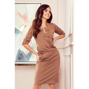 AGATA - Světle hnědé dámské šaty s límečkem 161-15 L