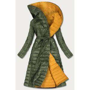 Prošívaný kabát v khaki barvě s kontrastní podšívkou (1118) Khaki XL (42)
