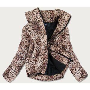 Krátká volná dámská bunda s panteřím vzorem (8353) hnědá S (36)
