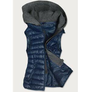 Tmavě modrá dámská vesta s teplákovou kapucí (B2616) námořnická modrá 46