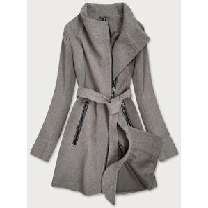 Dámský kabát s přeloženým obálkovým výstřihem (2707) hnědý XXL (44)