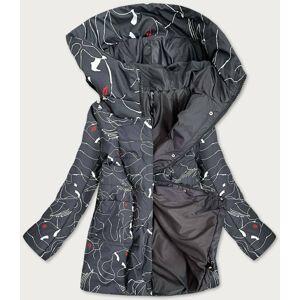 Dámská vzorovaná bunda v grafitové barvě (7720) tmavě šedá 46