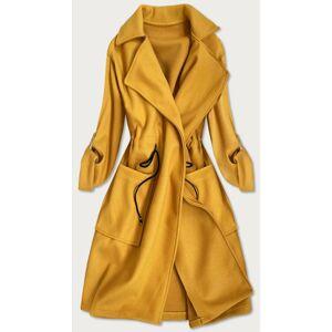 Hořčicový dámský kabát bez zapínání (20536) Žlutá jedna velikost