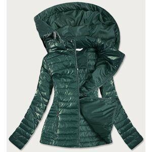 Lesklá zelená dámská bunda (6815) Zelený S (36)