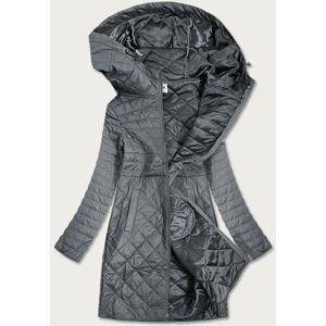 Šedá dámská prošívaná bunda s kapucí (Q359#) Šedá M (38)