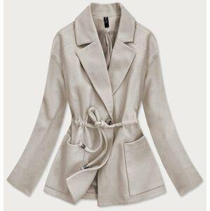 Volný béžový krátký dámský kabát (2727) béžová S (36)