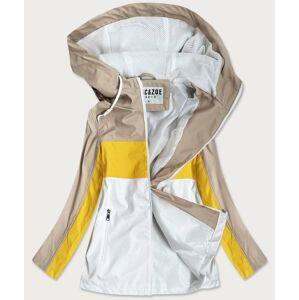 Béžovo-žlutá dámská bunda větrovka s kapucí (YR1968) žlutá S (36)