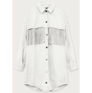 Bílá dámská košilová bunda s třásněmi (E448) bílá XL (42)
