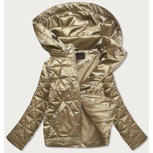 Zlatá metalická dámská bunda s kapucí (2021-01) Zlatý M (38)