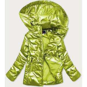 Lesklá prošívaná dámská bunda v limetkové barvě (2021-04) Zelený S (36)