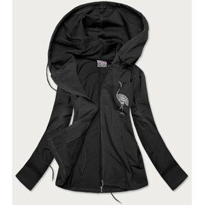 Černý bavlněný přehoz přes oblečení s potiskem (58079) Černá XXL (44)
