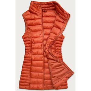 Prošívaná dámská vesta v cihlové barvě (23038) oranžový S (36)