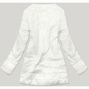 Bílá dámská bunda s mechovitým kožíškem pro přechodné období (M-1733) biały S (36)