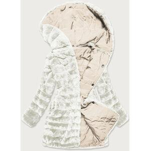 Lehká dámská zimní bunda - kožíšek 2 v 1 v ecru barvě (39039) Ecru S (36)