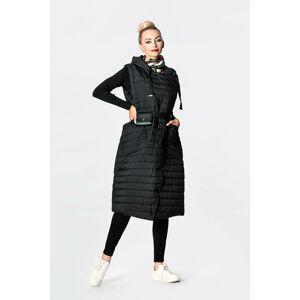 Dlouhá černá dámská prošívaná vesta (JIN219) czarny XL (42)