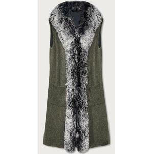 Dlouhá vesta v khaki barvě s kožešinou (F51010-4) Khaki ONE SIZE